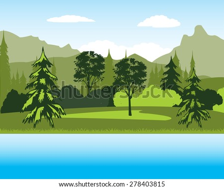 Beautiful year landscape with lake and mountain - stock vector