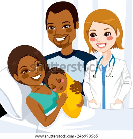 Beautiful young african american mom lying on hospital bed hugging her newborn baby girl visited by female doctor and father - stock vector