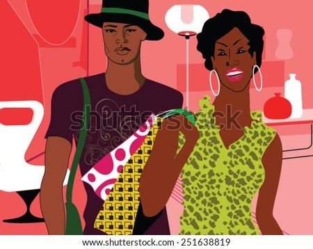 beautiful young african couple with shopping bag - stock vector