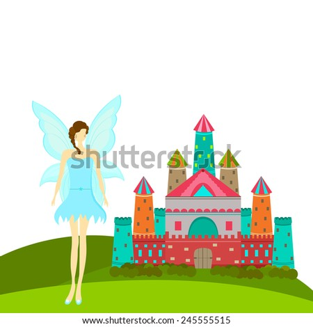 Beautiful young angel in stylish sky blue costume standing outside  colorful royal castle on white background. - stock vector
