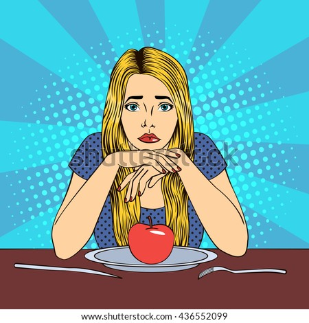 Beautiful Young Blond Woman in Diet with Apple on a Plate. Pop Art. Vector illustration - stock vector