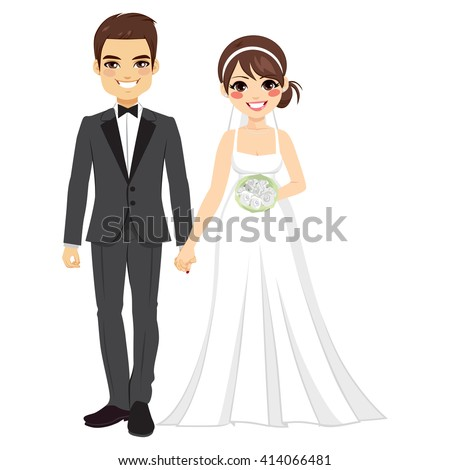 Beautiful young bride and groom couple holding hands on wedding day