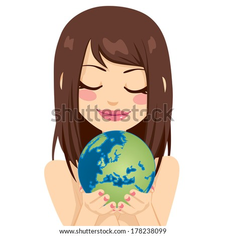 Beautiful young brunette woman holding earth globe showing European continent with her hands - stock vector