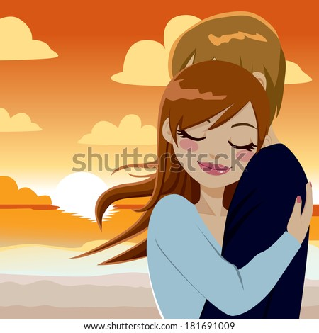 Beautiful young couple in love making a passionate and tender hug on sunset - stock vector