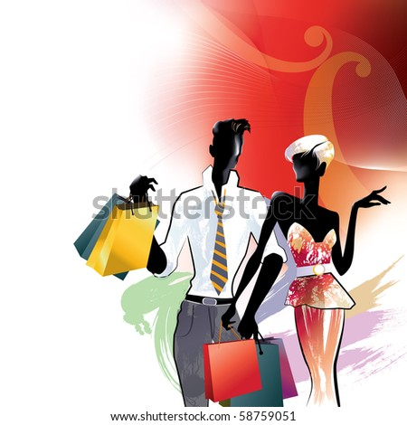 Beautiful young couple with shopping bags - stock vector