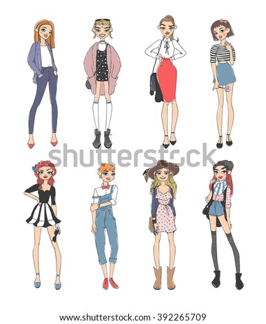 Beautiful young fashion girls dressed casual sketch glamour stylish clothes and fashion sketch girls clothes look models. Fashion casual girls pure beauty colored cartoon sketch flat vector - stock vector