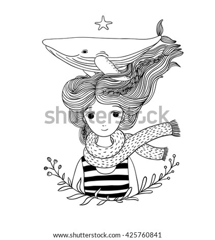 Beautiful young girl sailor with a whale in her hair.  Sea animals. Hand drawing isolated objects on white background. Vector illustration. Coloring book - stock vector