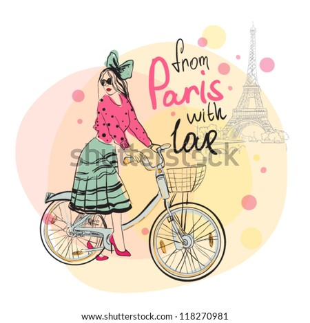 beautiful young girl with bicycle. - stock vector