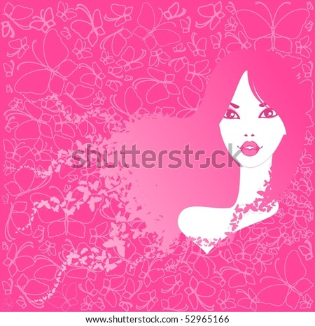 beautiful young girl with butterflies in hairs. Beautiful vector illustration. - stock vector
