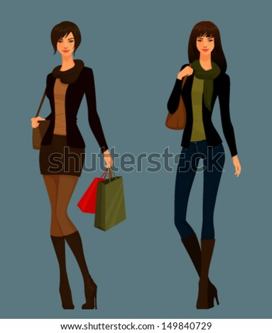 Beautiful young girls in autumn clothes - stock vector