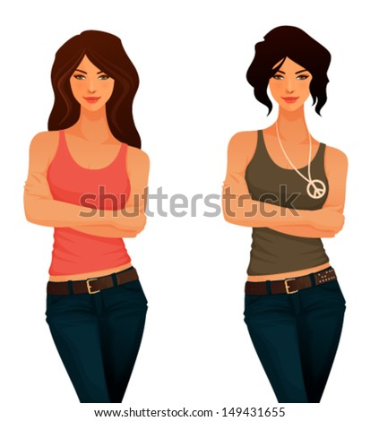 beautiful young girls in casual clothes - tank top and jeans - stock vector
