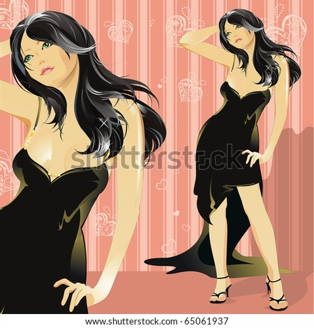 Beautiful Young lady. Illustration of a glamour woman.