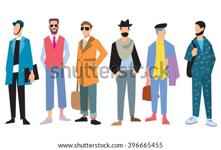 Beautiful young men in fashion clothing. Fashion men. Isolated fashion boy on white background. Vector men. Fashion clothing. Vogue style. Fashion model. Attractive men. Fashion men pose. Casual cloth - stock vector