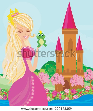 Beautiful young princess holding a big frog  - stock vector