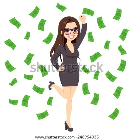 Beautiful young successful rich brunette business woman under falling money rain shower - stock vector