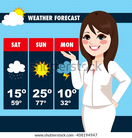 Beautiful Young Tv News Weather Reporter Stock Vector 408194947