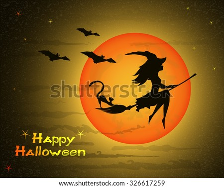 beautiful young witch with cat on broom  against the background of a orange  large moon and yellow sky, vector illustration - stock vector