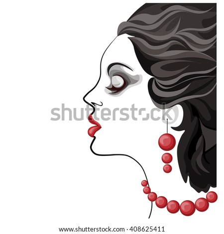 beautiful young woman black and white image, profile of calm lovely girl with earrings and necklace, attractive lady with fluttered hair and red lips - stock vector