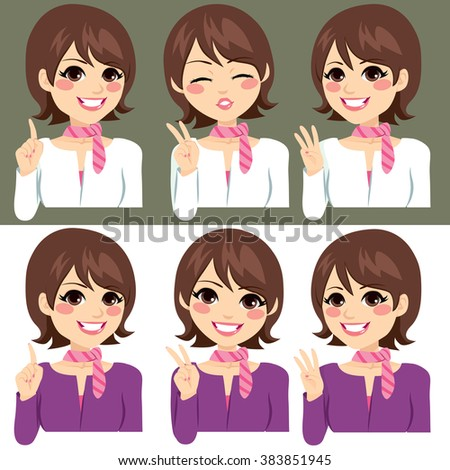 Beautiful young woman counting numbers from one to three with fingers on two color uniform version - stock vector