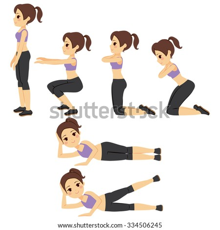 Beautiful young woman doing different workout fitness exercises - stock vector