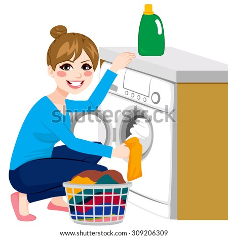 Beautiful young woman doing laundry putting dirty clothes on washing machine from basket - stock vector