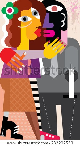 Beautiful young woman hugging and kissing a man. Modern fine art picture, vector illustration. - stock vector