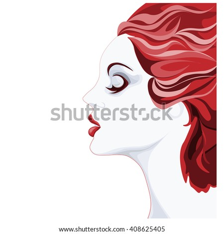 beautiful young woman image, profile of calm lovely girl, attractive lady with red fluttered hair and red lips - stock vector