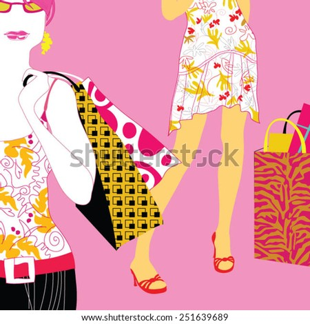 Beautiful young woman posing with shopping bags in mall - stock vector