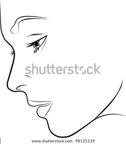 beautiful young woman profile - freehand on a white background, vector illustration - stock vector