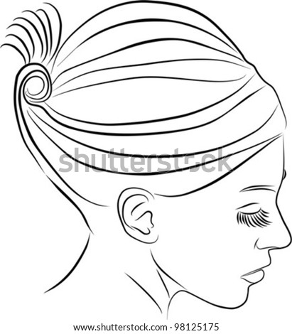 beautiful young woman profile - vector illustration - stock vector