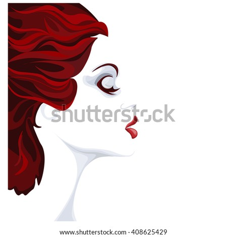 beautiful young woman red, gray and white image, profile of calm lovely girl, attractive lady with fluttered hair and red lips - stock vector