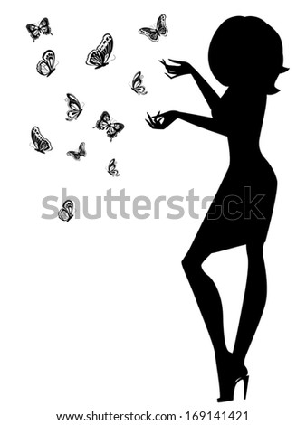 Beautiful young woman silhouette with butterflies, hand drawing black and white vector illustration - stock vector
