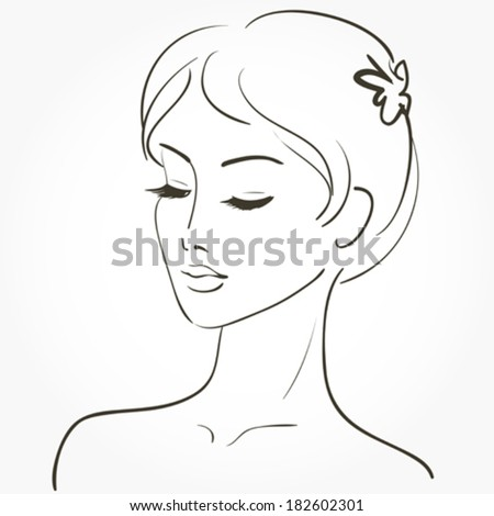 Beautiful young woman sketch - stock vector