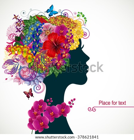 Beautiful young woman with tropicl flowers in heir hair. Vector illustration greeting card beauty and fashion.  - stock vector