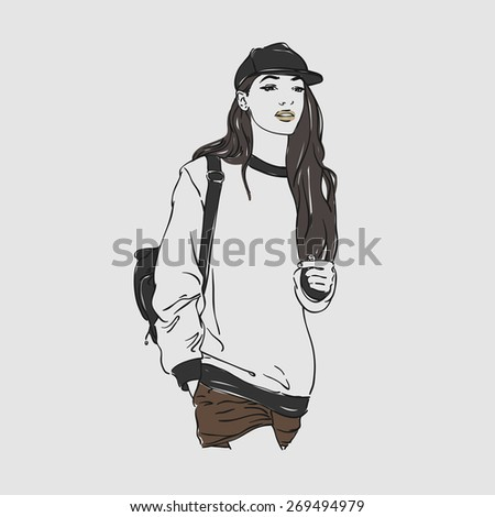 Beautiful young women in a fashion clothes and baseball with backpack. Vector hand drawn illustration. - stock vector