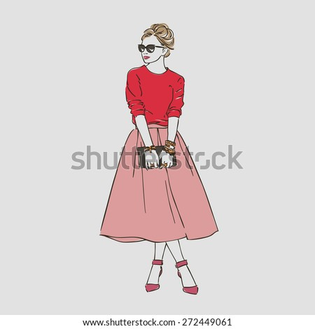 Beautiful young women in a fashion clothes in glasses with bag. Vector hand drawn illustration. - stock vector