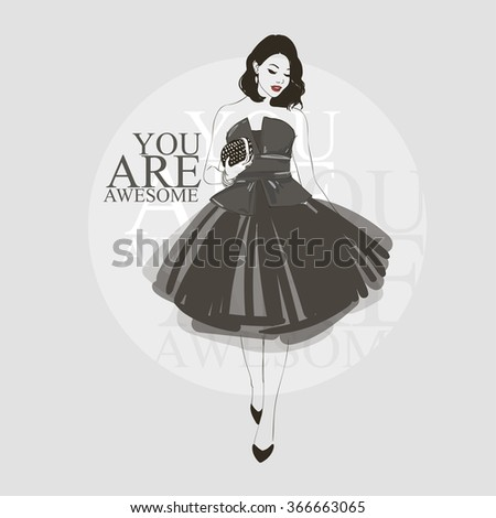 Beautiful young women in black dress, black high heel shoes.  Vector hand drawn illustration. - stock vector