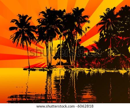 Beautifull sunset on a island - stock vector