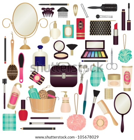 Beauty and care related symbols 1 - stock vector