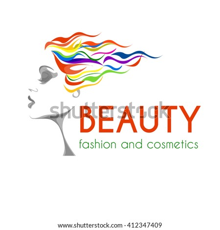 beauty and fashion logo, image of young woman with colorful hair, calm lovely girls face, attractive lady with fluttered hair - stock vector
