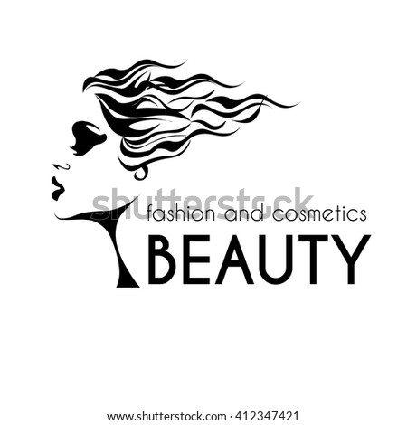 beauty and fashion logo, young woman black and white image, calm lovely girls face, attractive lady with fluttered hair - stock vector