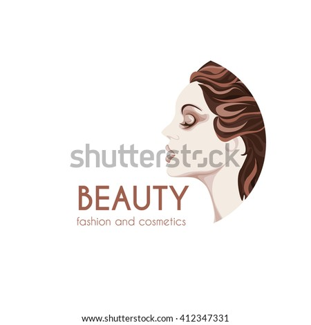 beauty and fashion logo, young woman image in brown shades, calm lovely girls face, attractive lady with fluttered hair - stock vector