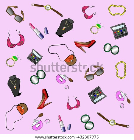 Beauty and fashion woman seamless pattern with accessories and cosmetics. Colored doodle hand-drawn vector illustration