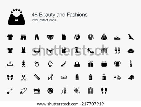 Beauty and Fashions Pixel Perfect Icons - stock vector
