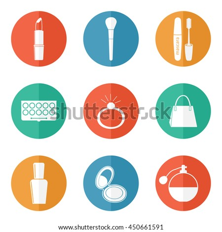 Beauty and make-up icons vector for women