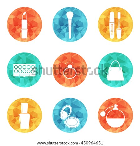 Beauty and makeup icons vector for women