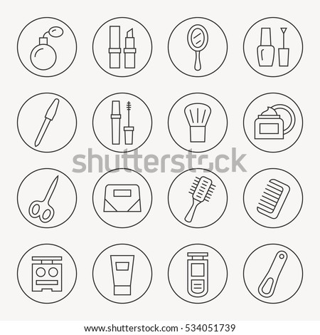 Beauty and makeup thin line icon set