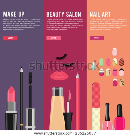 Beauty and manicure nail art salon, cosmetics and accessories. Vector banners for beauty industry - stock vector