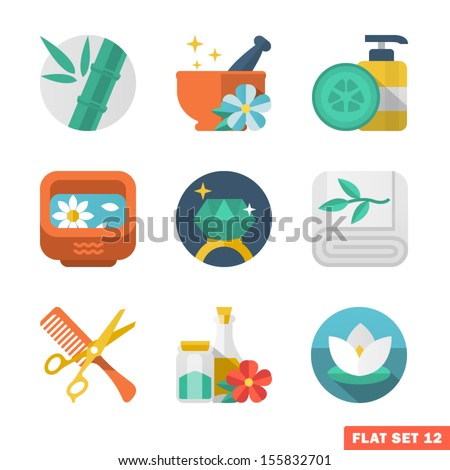 Beauty and Spa Flat icons - stock vector