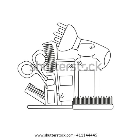 Beauty background with barber shop tools - hair dryer, comb, scissors and other tools for hair care. Vector illustration. - stock vector